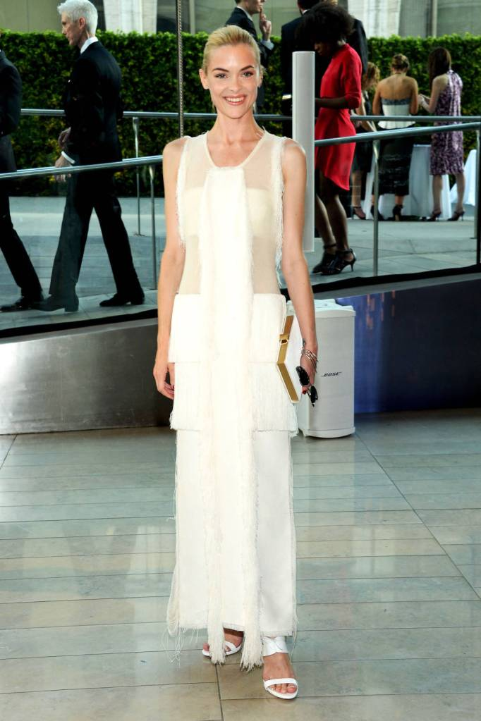 Jamie King looks stunning Calvin Klein Collection.  The peeks of sheer adds elegance. The drapery of the gown is amazing.