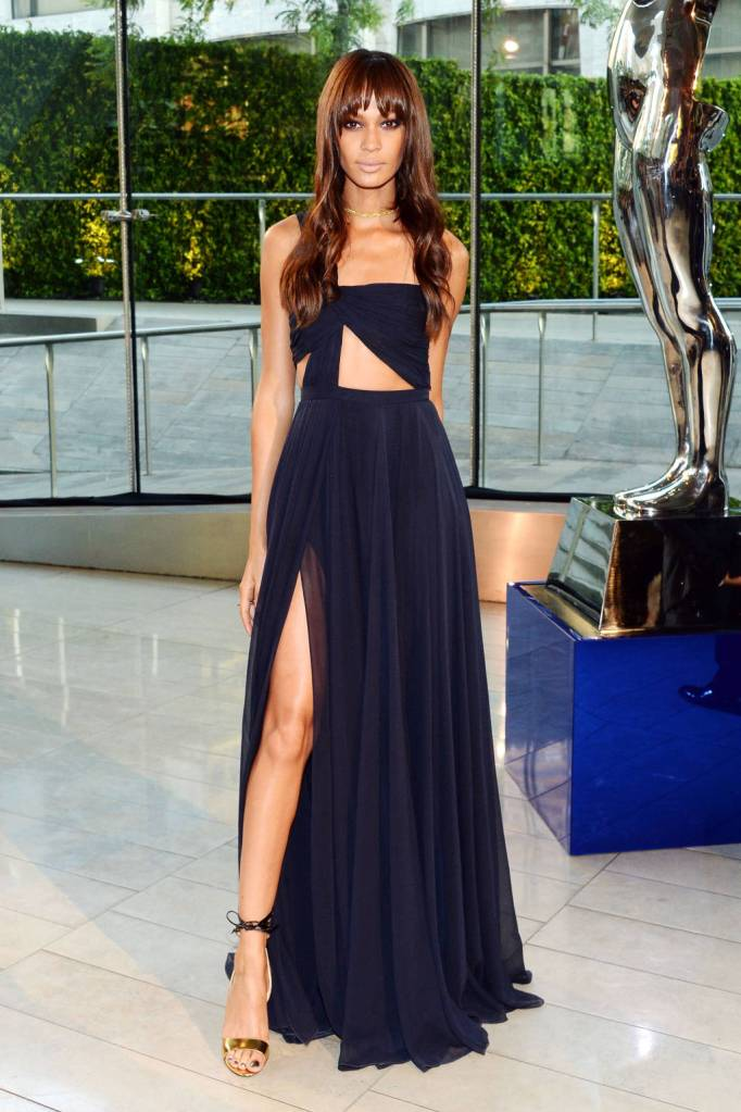 Joan Smalls pulls off this sexy Prabal Gurung. The sleekness adds to the flow of this gown. Along with the bare mid-drift adds the sex appeal!